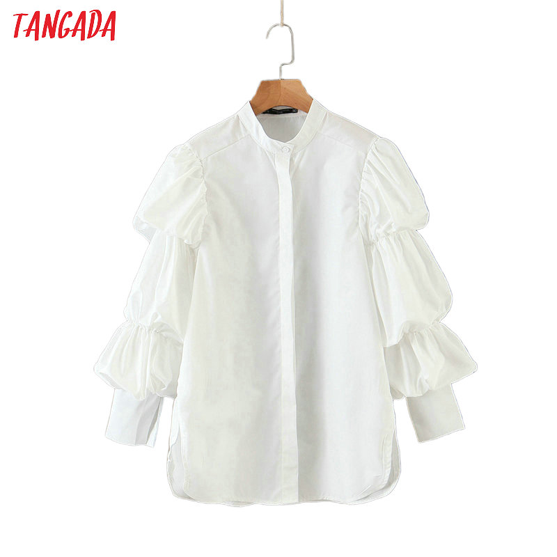 Tangada Women Retro White Shirts Puff Long Sleeve Solid O-neck Elegant Office Ladies Work Wear Blouses QB135