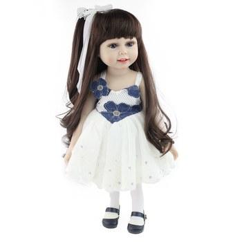 18inches Silicone Handmade Kids Newborn Black Hair Girl Dress Lifelike Doll Baby Doll Toy Baby Dolls Reborn Baby Dolls