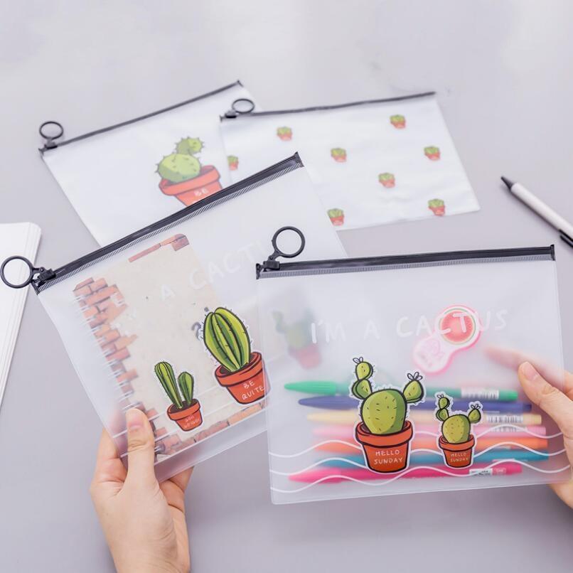 4pcs/set A5 Paper File Folder Waterproof Desk Organizer Document Bag Pencil Pen Case