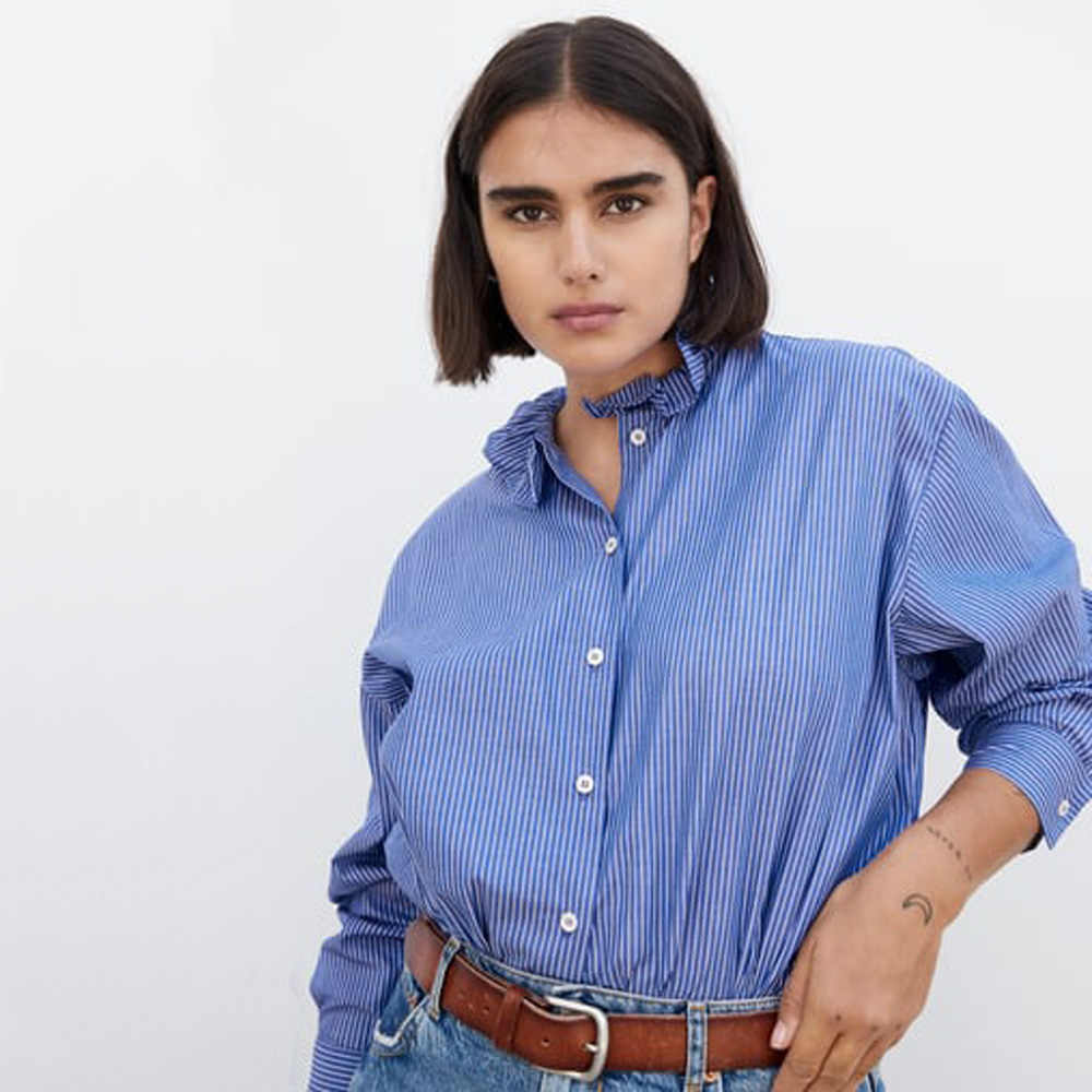 ZA 2019 Blue Striped Lotus Leaf Collar Shirt Fashion Women Clothes Casual Personality Shirt Party Travel Vacation Wholesale