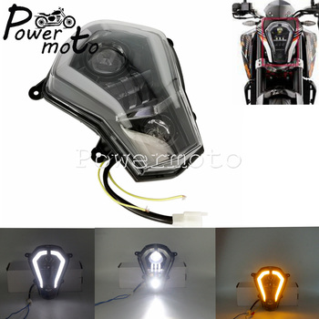 Motorcycle LED Black Daylight Running Light DRL Headlight Turn Signal Lamp For KTM 125 200 250 390 DUKE 390 2011-2019 Head Light image