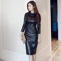 2019 New Autumn and Winter Fashion Slim Office Lady Leather Dress Women Front Zip Bodycon Mid long PU Leather Dress NS1392