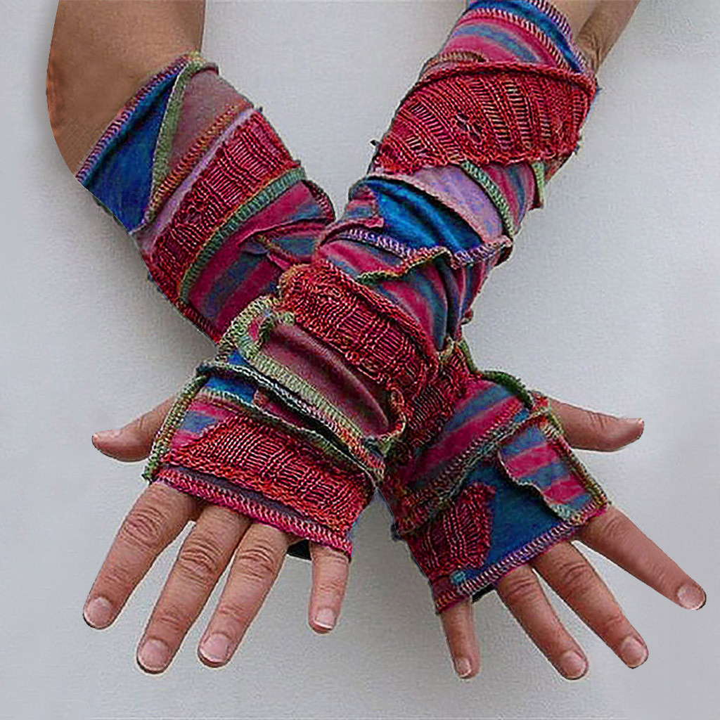 Long Fingerless Gloves 2020 New Fashion Winter Warm Patchwork Weave Half Finger Thicken Thermal Long Gloves Printing Patchwork
