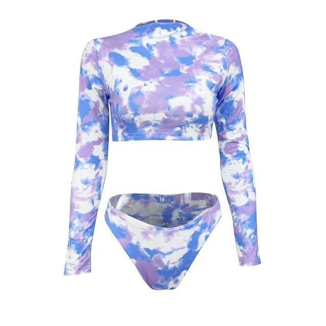 Женский сексуальный комплект бикини, комплект из двух предметов, короткий топ с длинным рукавом и принтом тай-дай, летние вечерние купальни...