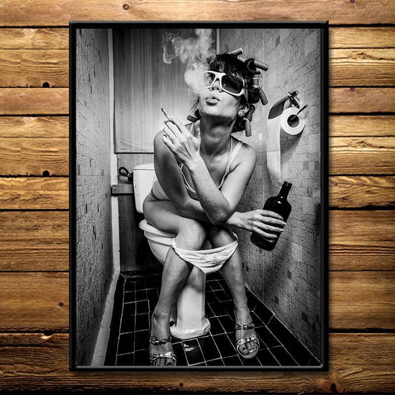Modern Bar Wild Girl Smoking and Drinking in Toilet Sexy Woman Canvas Painting Wall Art Painting Picture Poster and Print