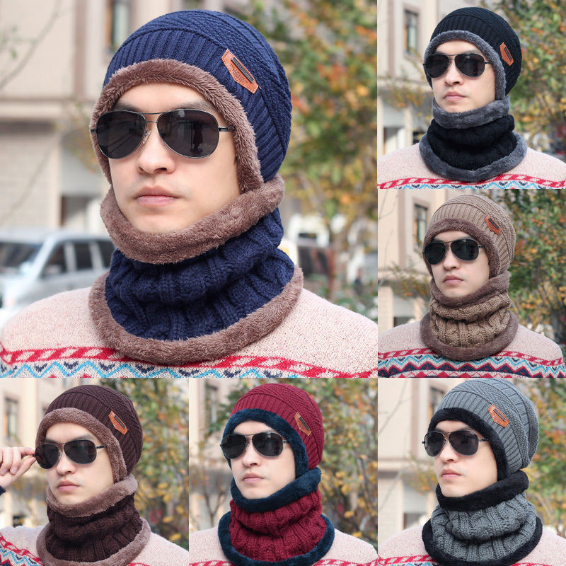 Beanie Hat And Scarf Women Men Two Pieces Pure Color Wool Knitted Fleece Camping Cap Keep Warm Neckerchief Winter Hat