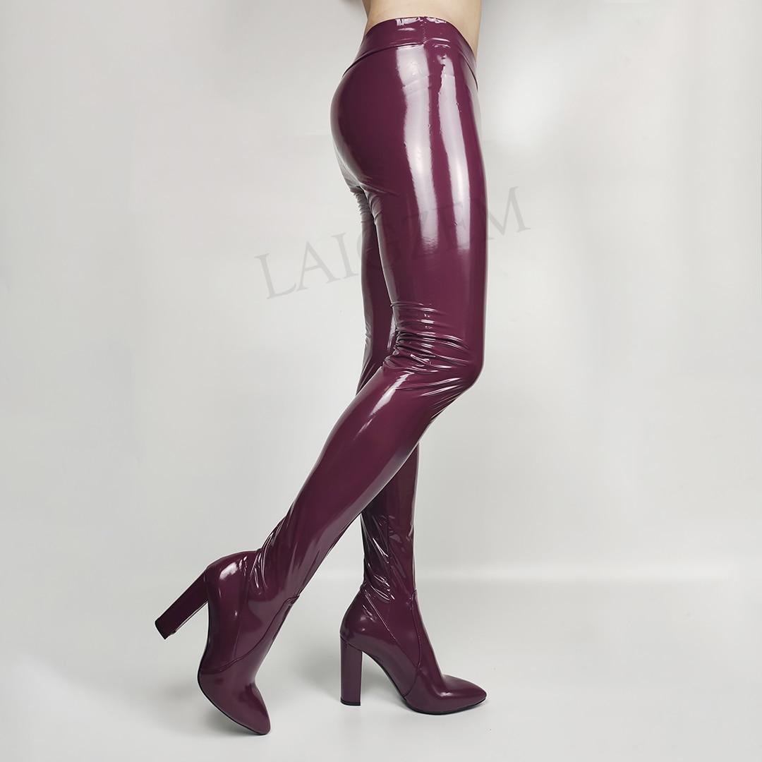 LAIGZEM personalizar Pantalones de mujer con botas de tacón grueso pantimedias látex elástico Cosplay botas zapatos de mujer talla grande 34 45 46 47