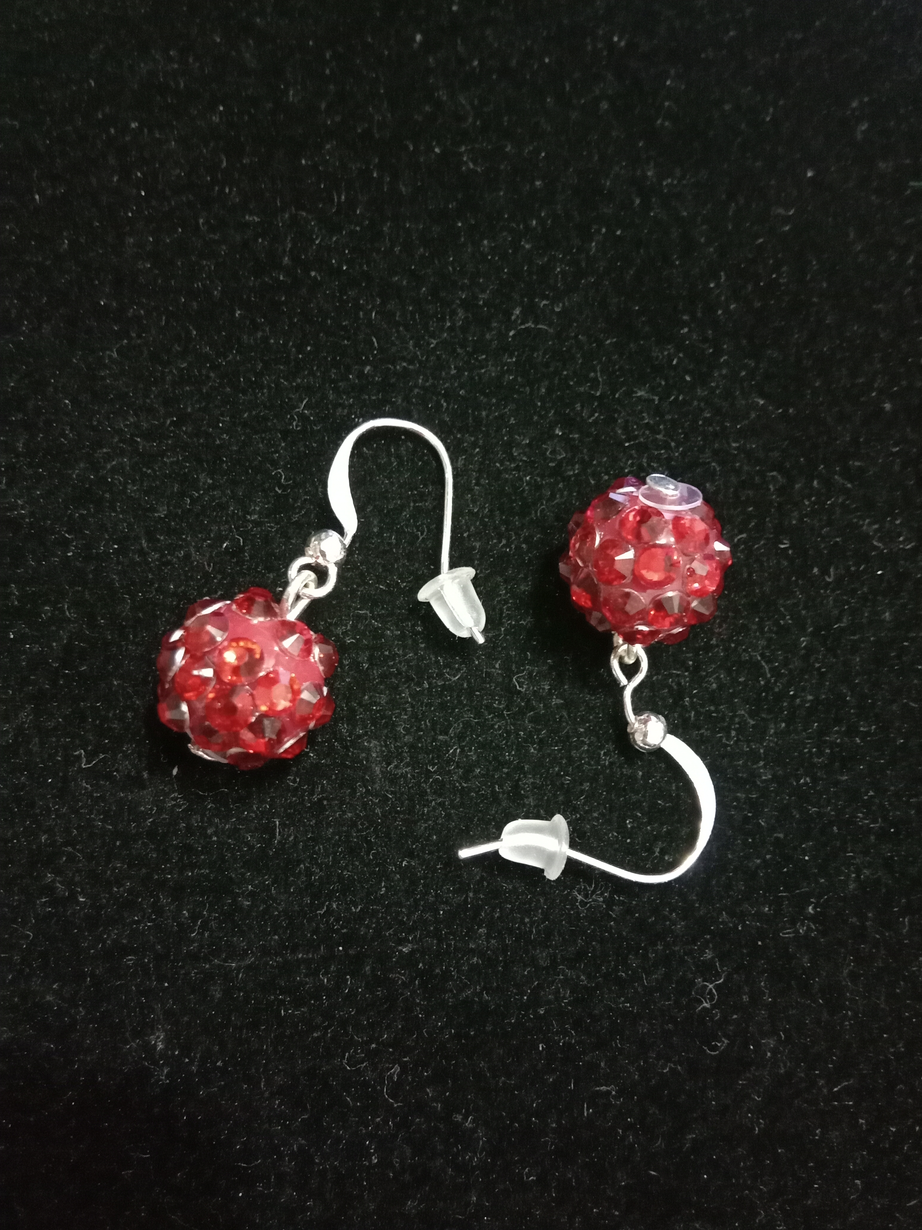 Crystal Ball Dangle Drop Earrings For Women Simple Small Red Silver Cute Kawaii Earring Duftgold Dropshipping