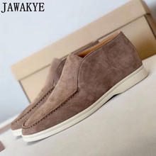 Suede Loafers Flat-Shoes JAWAKYE Open-Causal Real-Leather Women Round-Toe High-Top
