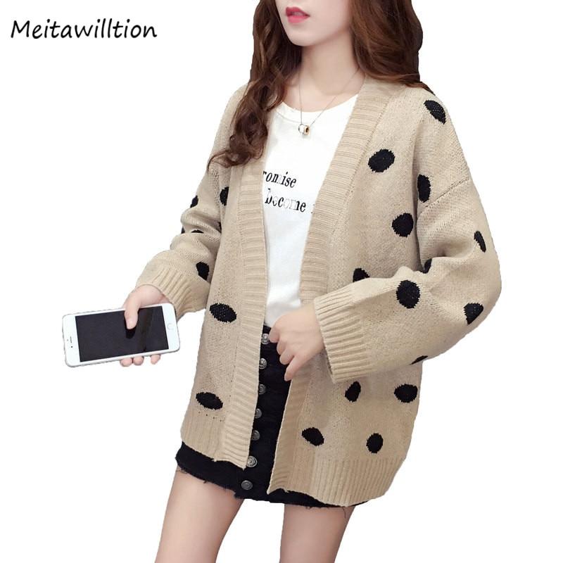 Women/'s Printed Cardigan Coat Long Sleeve Loose Casual Knitwear Tops Sweaters