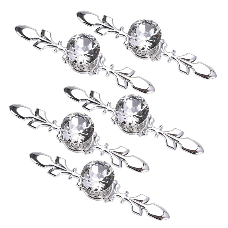 5 Pack Crystal Drawer Knobs with Silver Plate   Diamond Shape Cabinet Drawer Knob Drawer Pull Handle Cupboard Wardrobe Drawer Pu|Handlesets| |  - title=