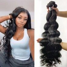 Feixes de cabelo humano ondulado indiano, 1/3/4 peças cor natural 28 30 32 Polegada fashow remy humano cabelo para mulheres negras