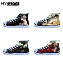 HYCOOL Cartoon Black Clover 3D Printing Sport Shoes For Kids Lace Up High Top Canvas Shoes Anime Boy Girls Outdoor Ball Sneaker(China)