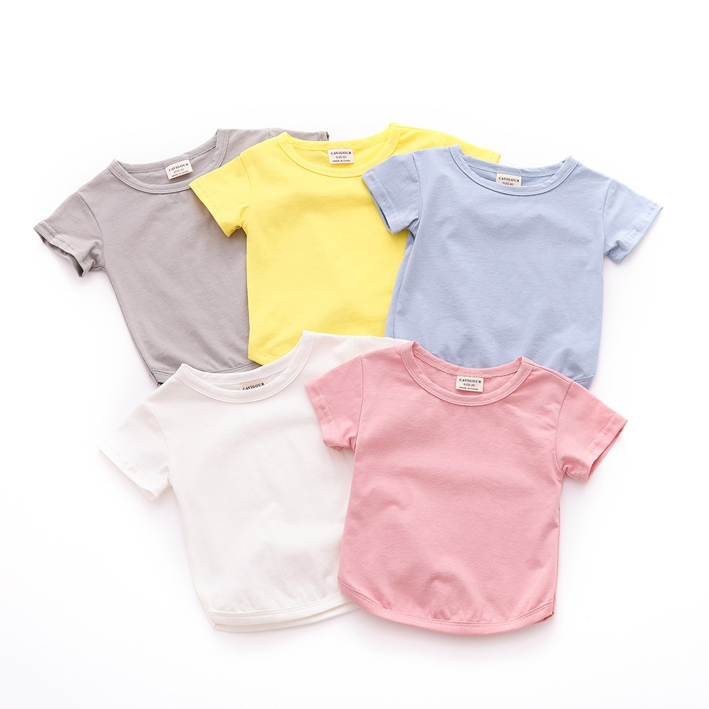 TELOTUNY 2020 Baby T-Shirt Baby Girl Tops Summer Short  Short Sleeve Round Neck Solid Color  Sleeve Toddler Boys Tshirt Clothes