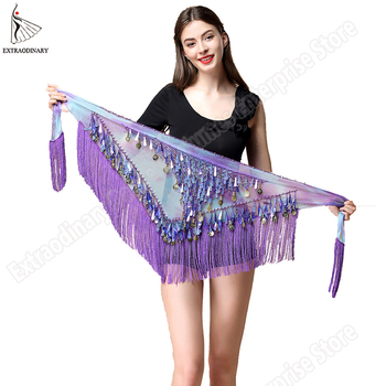 Women belt bellydance scarf hip Belly Dance Accessories Sequins Tassel Triangle Wrap Costume Belt Shawl Chiffon fringe scarf chic exuberant peonies and leaves pattern shawl wrap chiffon scarf for women