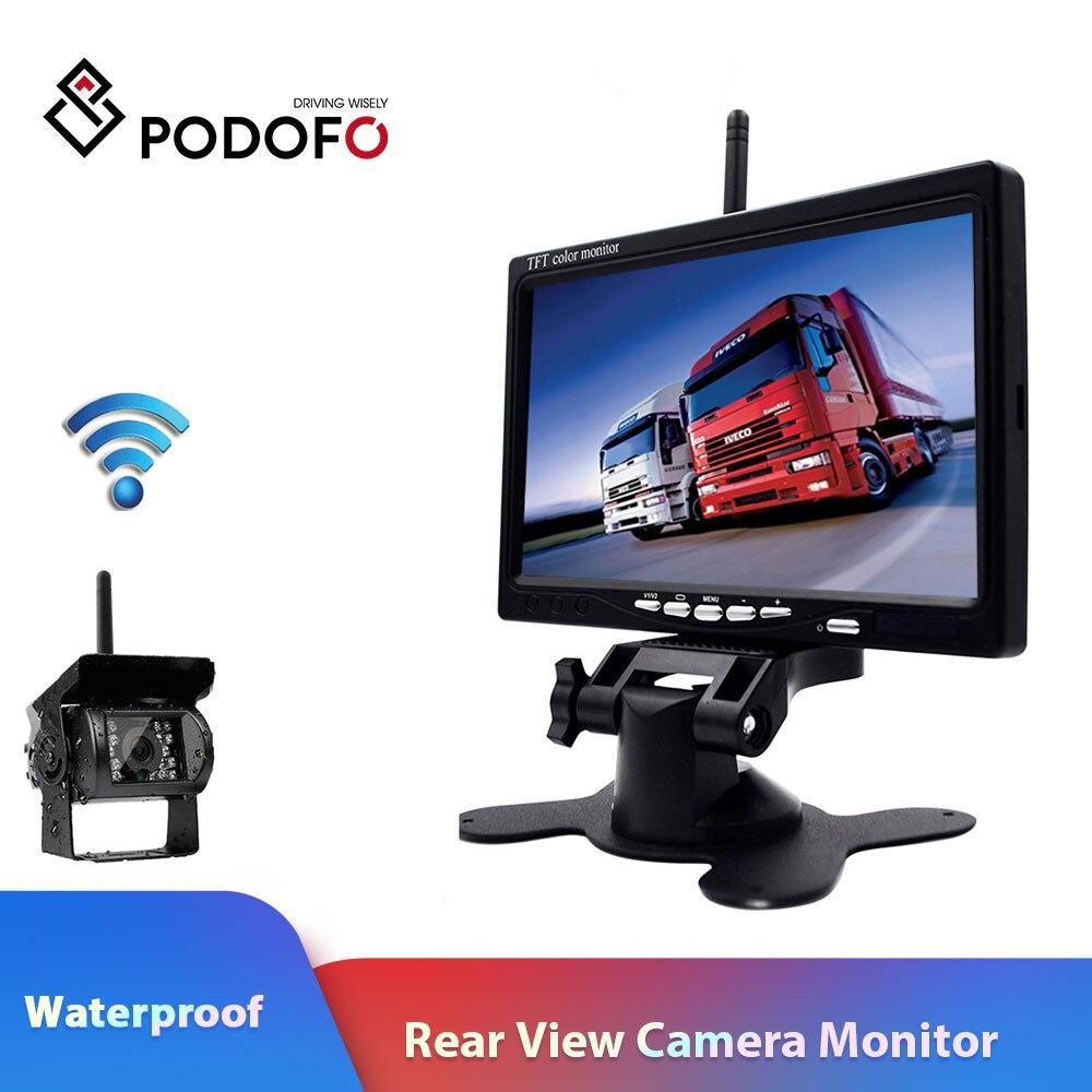 Podofo-Monitor de vista trasera inalámbrico para vehículo, 7 pulgadas, HD, TFT, LCD, sistema de estacionamiento con cámara trasera, cargador de coche para camión, remolque RV