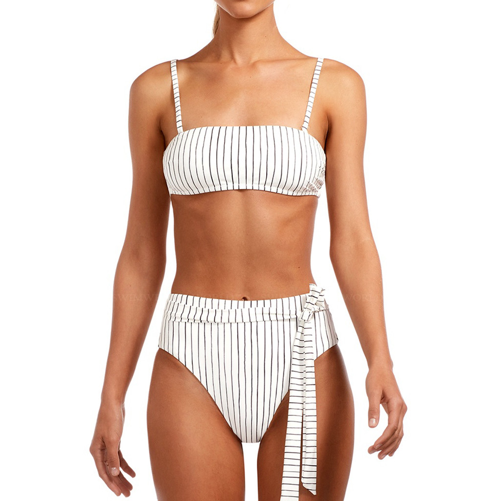 Sexy Striped Bikini Set Women Off Shoulder Bandage Bikinis Bathing Suit Summer Swimsuit Female Beachwear Monokini Swimwear#Y20 8