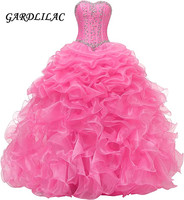 Gardlilac 2020 Sweetheart Ball Gown Quinceanera Dresses Beaded Wedding Prom Dress