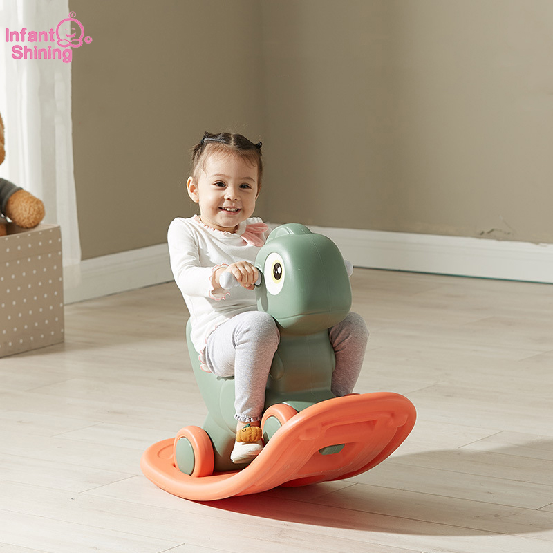Infant Shining Baby Ride On Toys Dragon Knight Rocking Horse Turntable Cart Flash Thickening Chassis Kids Indoor Toys