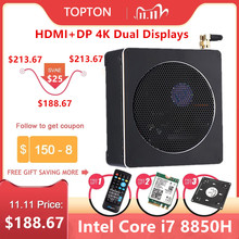 Topton משחקי מיני מחשב מיני מחשב אינטל i7 8850H i5 8300H Windows 10 2 * DDR4 2 * m.2 SSD + 1*2.5 SATA Nettop 4K UHD HDMI DP WiFi