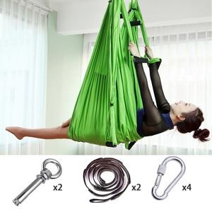 Image 2 - Volledige Set 6 Handgrepen Anti Zwaartekracht Antenne Yoga Plafond Hangmat Vliegende Swing Trapeze Yoga Inversie Apparaat Home Gym Opknoping riem