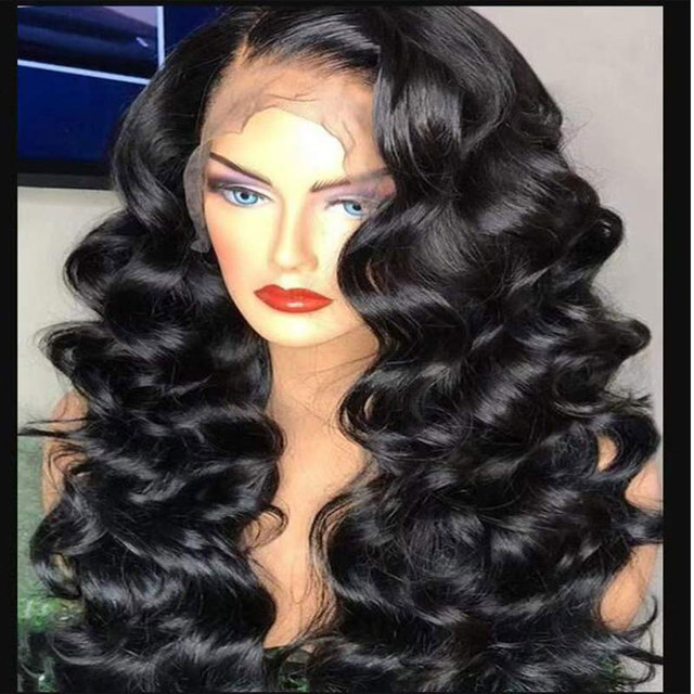 Bombshell שחור עמוק גל תחרה סינתטית עמידות בחום סיבים טבעי קו שיער צד פרידה לאפריקני אמריקאי נשים