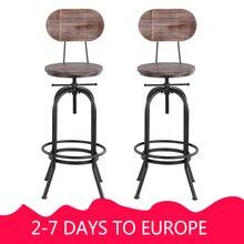 IKayaa промышленный стильный барный стул, регулируемый по высоте поворотный стул для кафе, сосновый верх+ металл со спинкой, мебель для бара, кафе