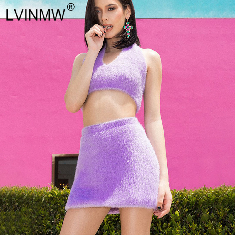 LVINMW Sexy Purple Velvet Tow Piece Set Lace Up Halter V Neck Backless Crop Top High Waist Slim Mini Skirts Female Party Club