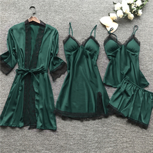 2020 Women Pajamas Sets Satin Sleepwear Silk 4 Pieces Nightw