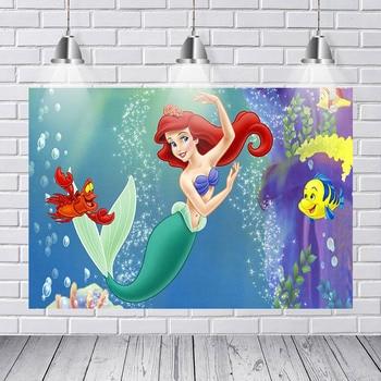 Vinyl Little Ariel Mermaid Princess Under Sea Fish Palace Bubbles Custom Backdrops Children Backgrounds for Photo Studio