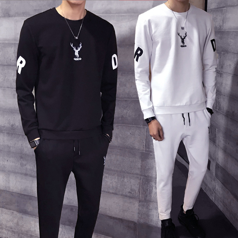 Hoodie Men's Fashion Deer Head Sports Leisure Suit Men's Pullover Korean-style Spring And Autumn MEN'S Coat New Style Two-Piece