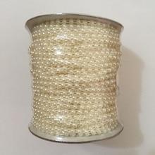 50 meter/Roll Half Ronde Platte Terug Plastic Pearl Trim 4mm Plaksteen Pearl Bead String Trim Chain Naaien VX12 Beige