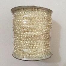 Garniture en perles en plastique semi rond, 50 mètres/rouleau, chaîne en perles à dos plat de 4mm, VX12 Beige