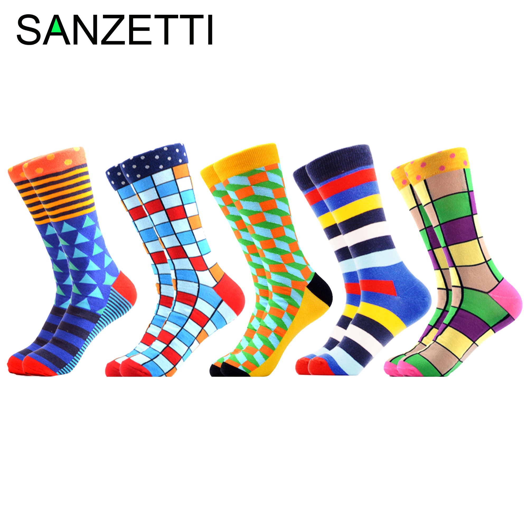 SANZETTI Popular 5 Pairs Of Leisure Crew Socks Hip-hop Novelty Personalized Colorful Design Combed Cotton Socks Gift Gym Socks