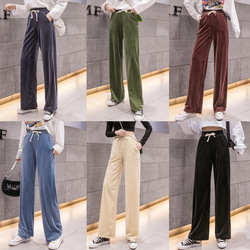 Corduroy Elastic Waist Loose Pants Women's 2019 Autumn High-waisted Loose-Fit Pendant Sense Slimming Mopping Casual Trousers