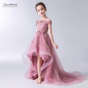 Новинка; Детские пышные вечерние платья; Розовые Платья с цветочным узором для девочек на свадьбу; платья для первого причастия для девочек