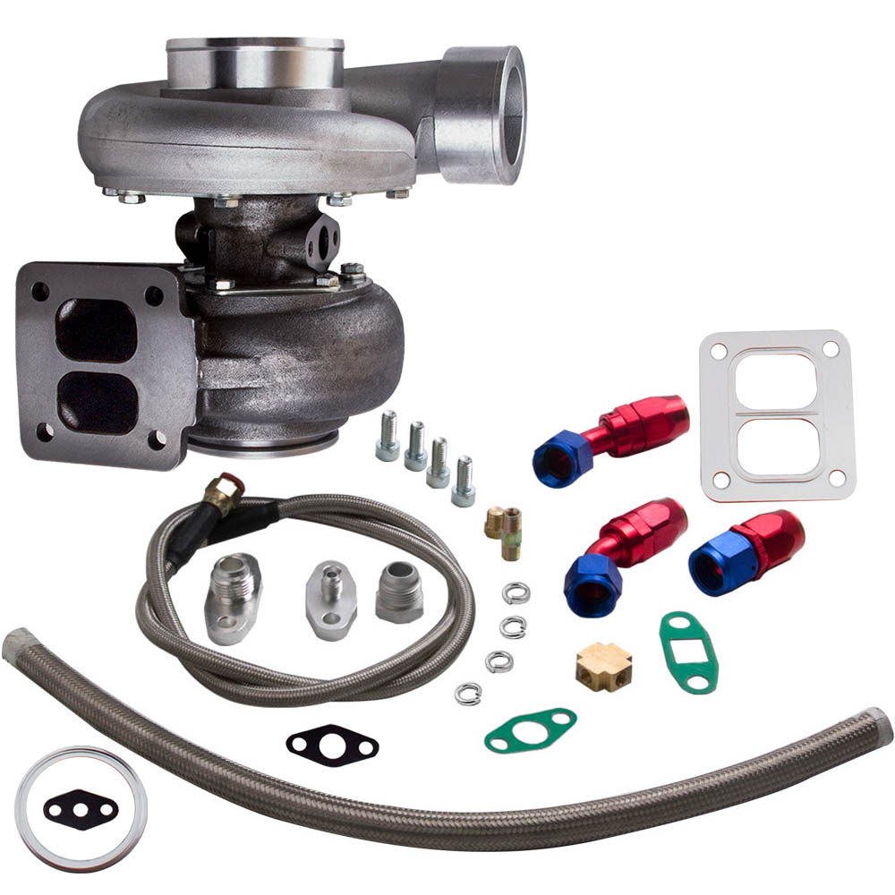 GT45 T4/T66 Racing V Band Turbo Charger + Olie Afvoer Feed & Return Lijn Kits Turbo tot 600 Hp 1.05 A/R 98 Mm - 3