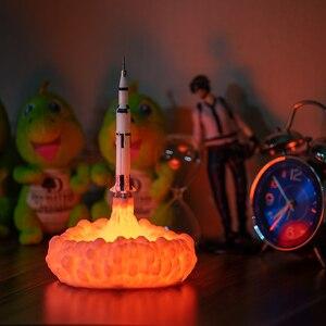 Image 4 - 2019 Nieuwste Dropship 3D Print Saturn V Lampen Oplaadbare Nachtlampje Apollo 5 Voor Maan Land Ruimte Lover Als Kamer decoratie
