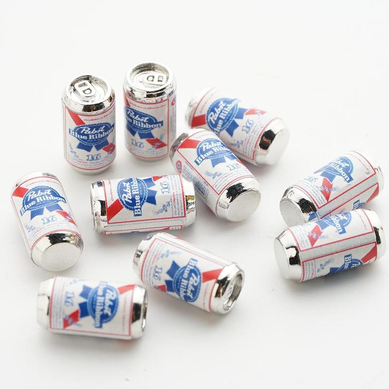 10pcs Mini Beer Bottle 1:12 Scale Dollhouse Furniture Model Toys Beer Cans Doll House Accessories Kids Toys Gifts