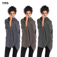 цены Women's irregular hem crossing women's high neck sweater coat women's bat sleeve Cape knitwear