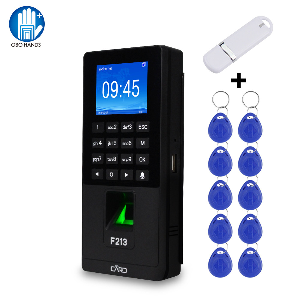 Fingerprint RFID Keypad TCP/IP/USB Biometric Access Control System Software Time Clock Attendance Machine + U Disk +10 Keyfobs