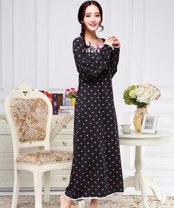 Image 2 - Robe de nuit Extra longue en coton pour femmes, à manches longues, vêtements tricotés, princesse, pour salon, Lingerie intime, pour printemps, automne et hiver