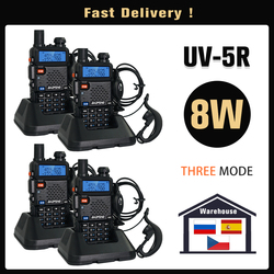 Original Baofeng UV 5R Walkie Talkie Real 8 Watts UV-5R Dual Band UHF VHF Fast Deliver from Spain Russia One Year Warranty