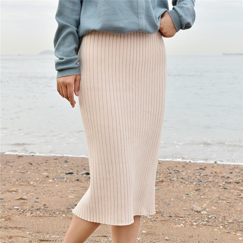 Women Back Slit Bodycon Elegant Midi Pencil Skirt Spring Autumn Casual Knitted Skirt High Waist Skirts Womens Jupe Femme Faldas