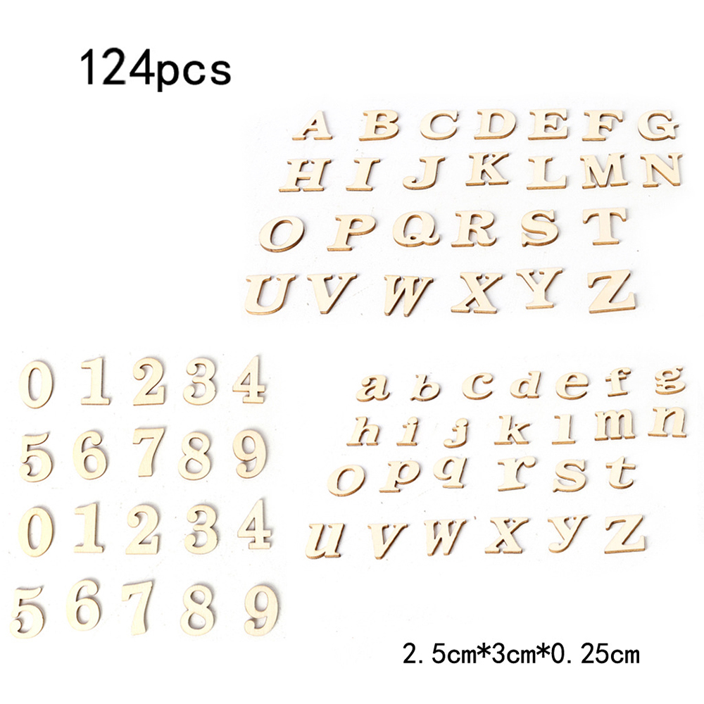 124 Pcs/pack A-z Capital & Tiny Alphabets Wood Number 0-9 Wooden Household Decorative Arts Crafts Letter Digital Display