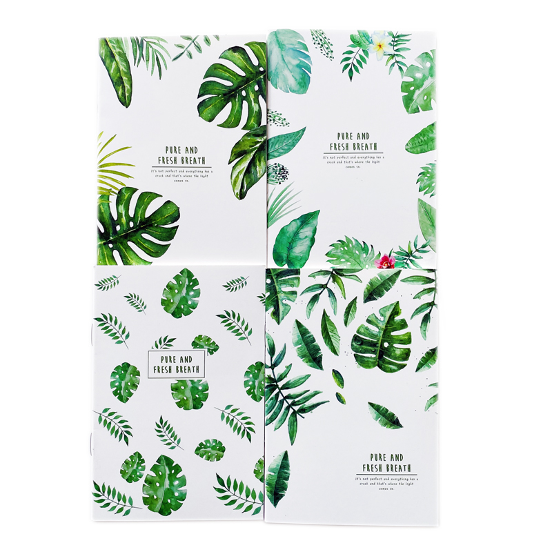 20 Pages Cute Green Leaves Pure And Fresh Breath Notebook Writing Diary Book Student Stationery School Office Supply
