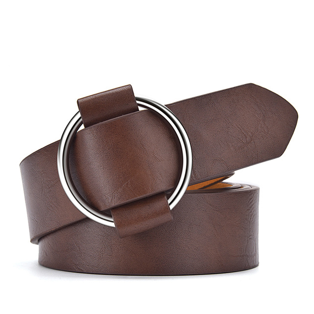 CARTELO Women s belt dress designed by the new fashion designer Round hole without Retro buckle women waist the leather belts