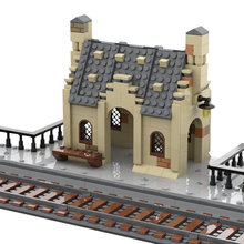 New Europe Train Station Streetview Model Set House Building Blocks Bricks DIY Assembly Educational Toys For Kids Gift 496pcs
