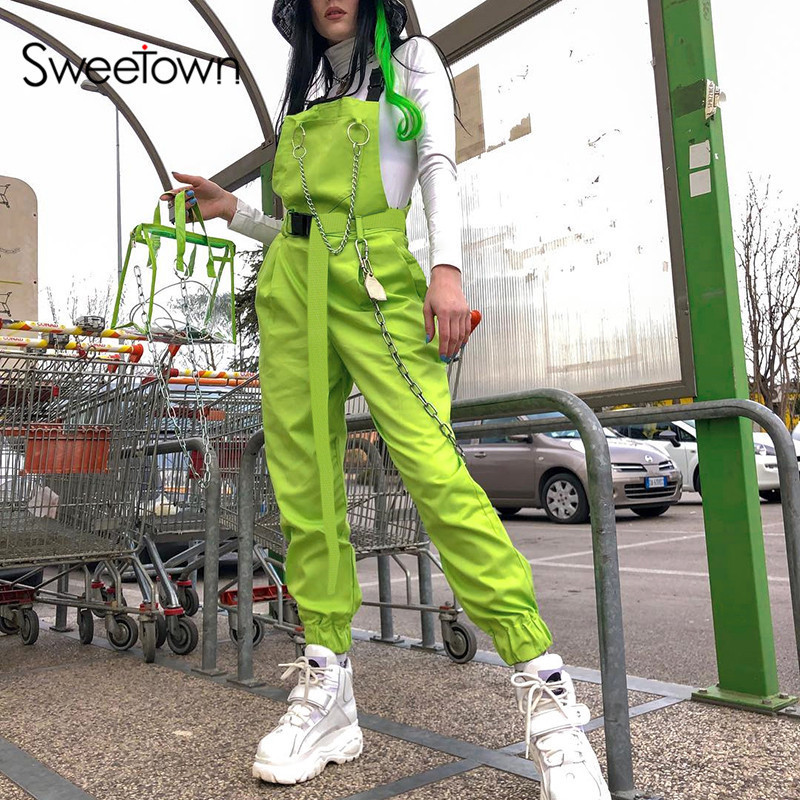 New Sexy Fluorescent Green Streetwear Strap Jumpsuit Women Black Metal Chain Patchwork Backless Cotton Rompers Womens Jumpsuit
