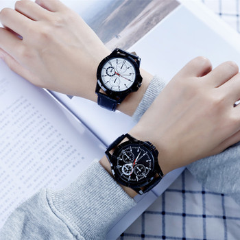 Fashion casual three-eye decorative dial couple watch men and women quartz watch casual wild watch black belt watch men's watch
